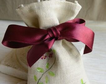 Linen lavender sachet handpainted, silk ribbon in scarlet handmade