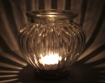 Upcycled Ribbed Glass Tea Light Holder