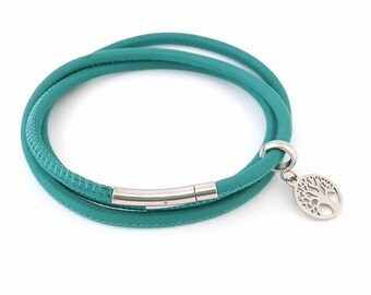 Leather Triple Wrap in Turquoise
