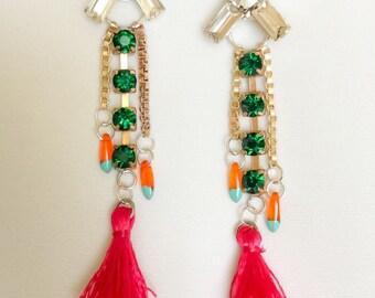 Swarovski drop earrings and silk tassel sale 15% OFF