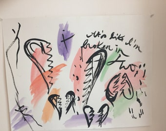 It's Like I'm Broken In Two, Drawing, Art, Romance, Hearts, Nicole Laurendeau