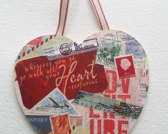 Travel ephemera heart collage. Quote