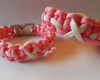ByQuinty paracord Thin Line bracelets Pink Ribbon