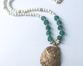 Aqua Sea Glass Oyster Shell Necklace
