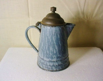 Graniteware Childs Coffee Pot Seamed Rivited Small Size Scarce