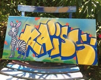 custom room name painting graffiti canvas