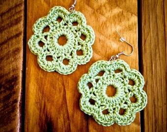 Pale green crochet earrings
