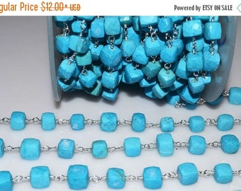 45% OFF Beautiful Turquoise Rosary Beaded Chain-Turquoise Cubes Silver Wire Wrapped Rosary Beaded Chain , 7-8.5 mm , RB5093
