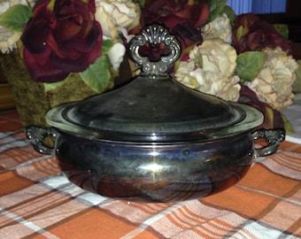 Silver plate vintage casserole dish.