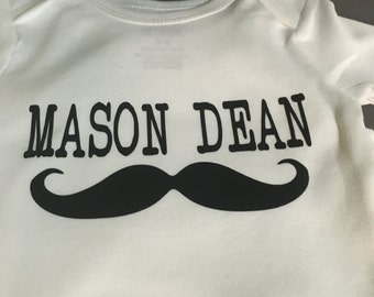 Personalized Mustache Infant Onesie