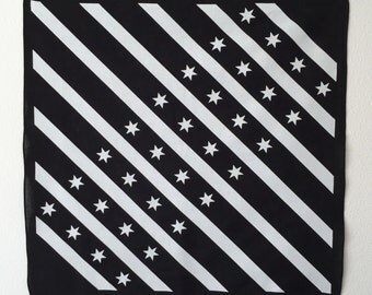 Black and White Chicago Flag Bandana