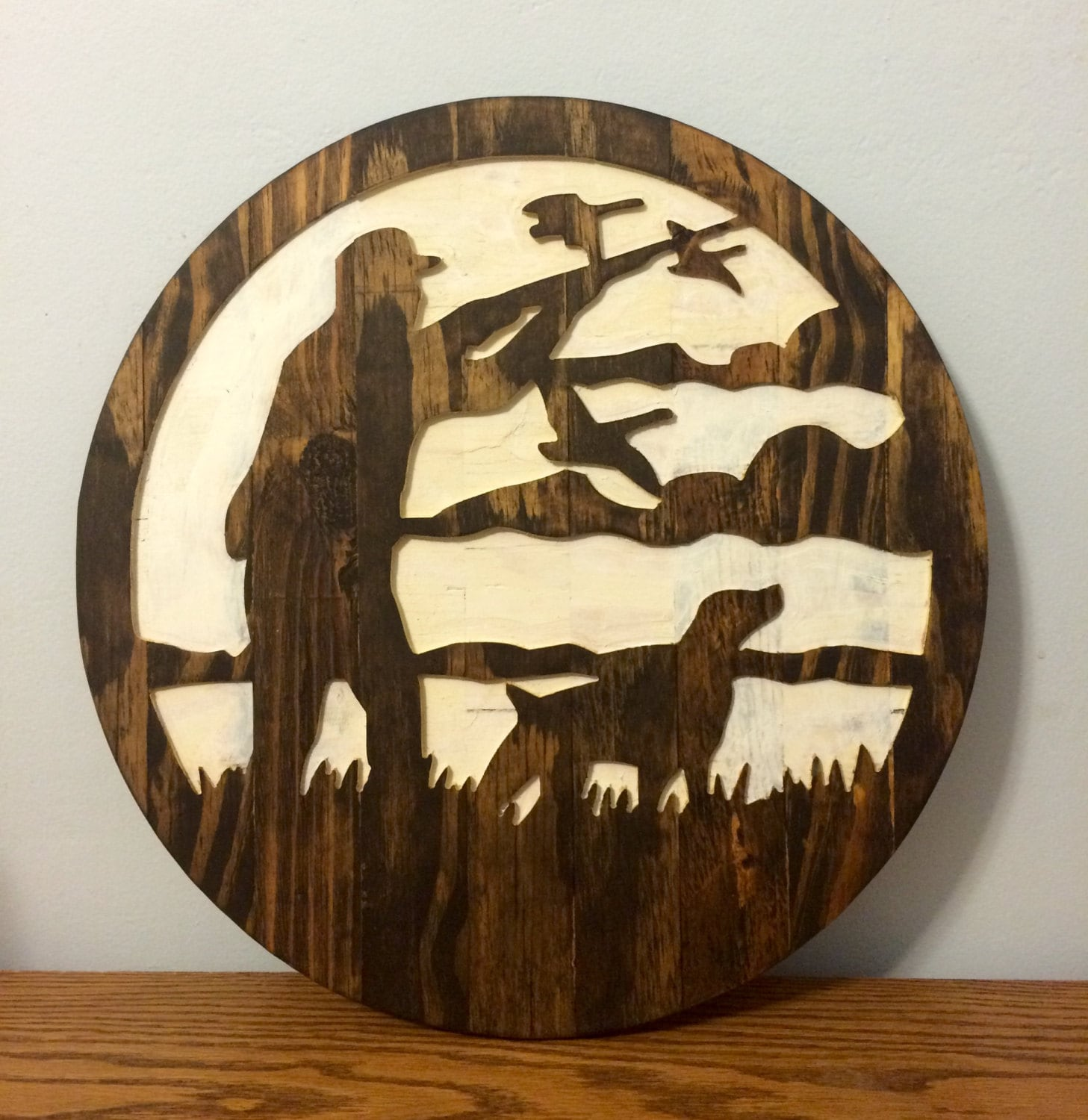 Ducks Unlimited Home Decor: Man And Dog Duck Hunting Silhouette Wall Decor By RummWoodWorx