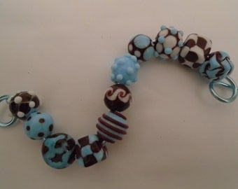 Maroon and Baby Blue Beads