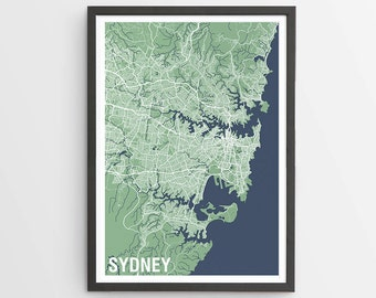 Sydney Map Print Various Colours - Two-tone / New South Wales / Australia / City Print / Australian Maps / Giclee Print / Poster
