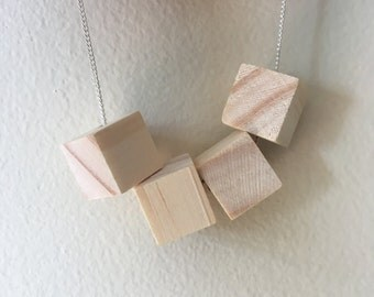 White wood block necklace - wood necklace - geometric wood necklace - wood block necklace - boho wood necklace - festival wear necklace
