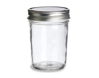 8oz Bulk Tapered Mason Jar w/ Metal Lid - No Labels/Logos/Writing, Salve Jar, Salsa Jar, Jelly Jar, Canning Jar