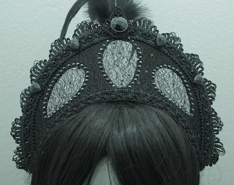 Black Kokoshnik / Frenchhood with crystals