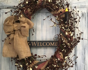 """18"""" Oval Primitive Country Welcome Grapevine Wreath"""