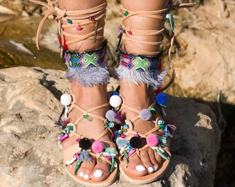 "Tie Up Sandals, Gladiator Sandals, Leather Shoes, Greek Sandals, ""American Indian Style"""