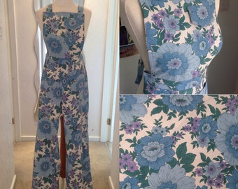1970s Floral Dungarees