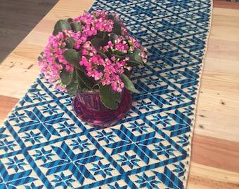Reversible Blue Handmade Table Runner - 100% cotton