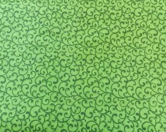 Green tonal swirl fabric