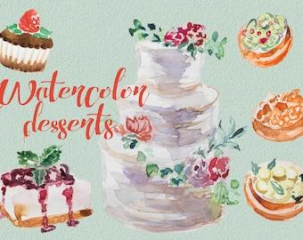 Watercolor Desserts Clipart,Handpainted clipart,Wedding DIY,Design DIY,Printable,Digital Print,Wedding Menu,Transparent,Cupcake,Tartlets