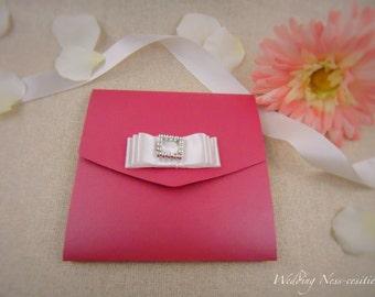 Fuchsia Pocketfold Invitation with White Ribbon and Diamante Embellishment