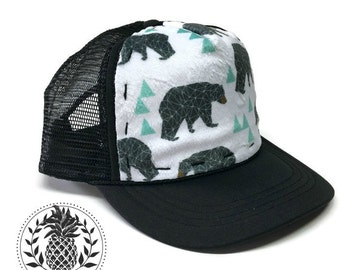 Mint Geo Bear Minky,Adult-Child-Kids-Baby Trucker Hat, Black SnapBack