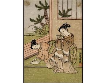Paper Cranes Print - Origami Digital Print - Traditional Japanese Print - Ukiyo-e - Digital Download - Digital Print - Japanese Art
