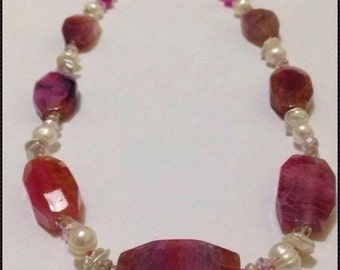 Natural Pink Pearl And Agate Necklace with Sterling Silver Clasp