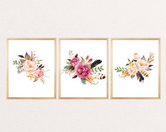 SET OF 3 Funny print watercolor flowers arrows feathers floral wall art print watercolor floral poster nursery decor home office dorm room