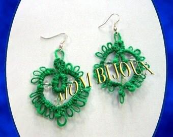 EARRING-earrings-green Cotton tatting lace Italian-till-hand made
