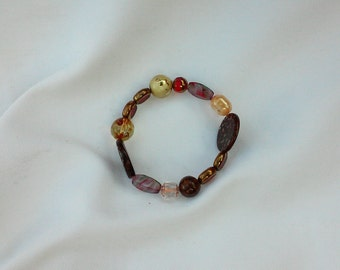 Handmade Multi Stone Beaded Bracelet In Browns And Gold