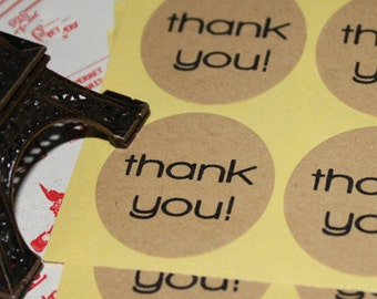 36 Circular Kraft Thank You Stickers / Thank You Tags, Labels, Stickers, Sealing Labels