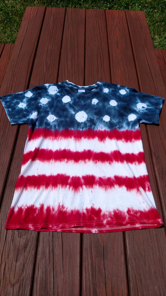 Red white and blue american flag custom tie dye shirt for Customized tie dye shirts