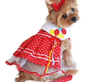 Red Polka Balloon Dress with Harness