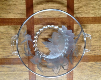 Vintage glass platter with sterling silver overlay