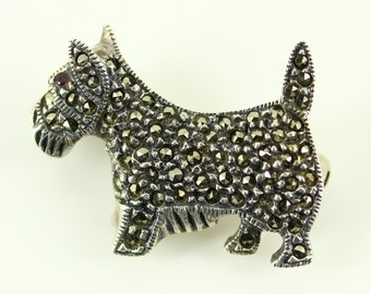 1960s Signed Judith Jack Sterling Silver Brooch Pin - Vintage Marcasite Scotty Dog Brooch - Fine Estate Jewelry, JJ Small Figural Brooch