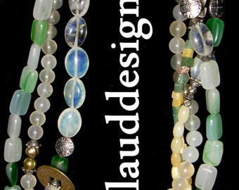 "klauddesigns Handmade 22.5"" multi strand necklace: jade,opaline,aventurine,citrine Silver One-of-a-kind/extension/signed"