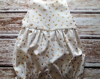 Baby Girls Romper, White and Gold Infant Romper, Toddler Romper, Baby Bubble Romper, Girls Dressy Romper, Baby Girls Playsuit, Beach Sunsuit