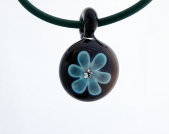 Glass jewelry necklace, hand blown glass pendant necklace, flower glass pendant, unique pendant for her