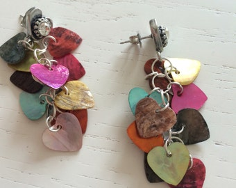 Cluster earrings with mother of Pearl hearts