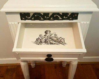 2 Drawer Cabinet Shabby French Chic Farrow and Ball Wrought Iron Black and White