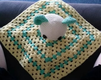 Crochet baby snuggle blanket toy granny square rattle
