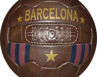 BARCELONA  - Vintage Leather Soccer Ball 1966 -- 100% leather