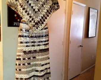 Handmade Crochet maxi skirt with poncho set