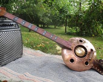 cigar box guitar copper fretess