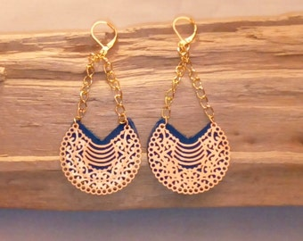 Navy blue leather earrings