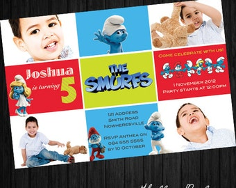 The Smurfs Party Invitation